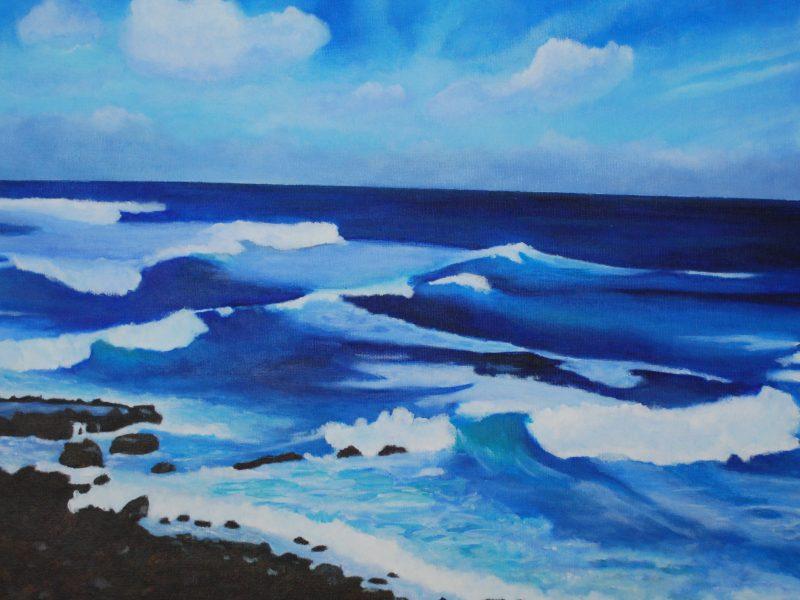 Paesaggio marino, acrilico su tela