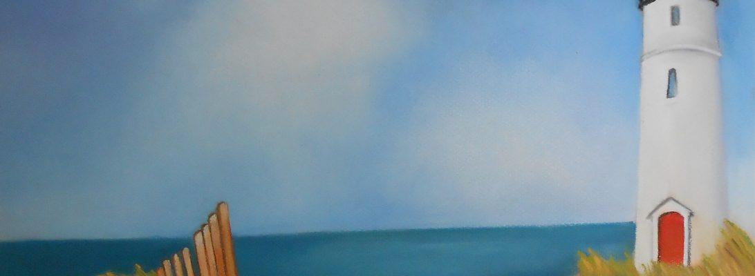 Paesaggio marino, pastelli su carta