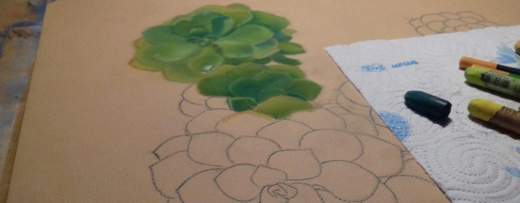 in progress di un disegno a pastelli