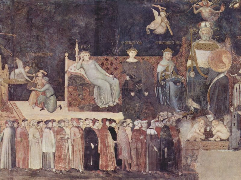 Mostra Allegoria del Buon Governo, 1338-1339, Sala della Pace, Palazzo Pubblico, Siena