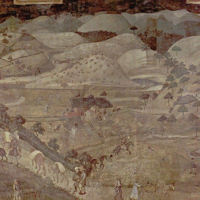 Mostra Ambrogio Lorenzetti - Effetti del Buon Governo in campagna, 1338-1339, Sala della Pace, Palazzo Pubblico, Siena