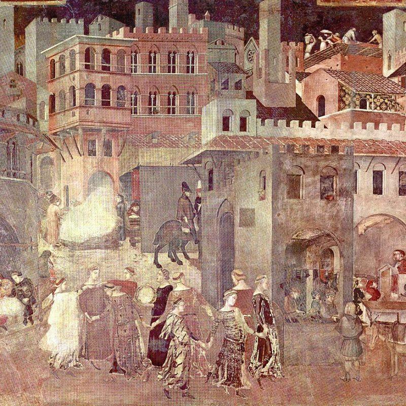 Mostra Ambrogio Lorenzetti - Effetti del Buon Governo in città, 1338-1340, Sala della Pace, , Palazzo Pubblico, Siena